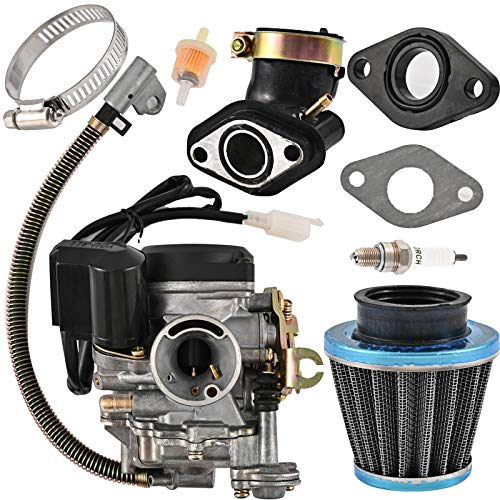 YOU - ALL GY6 50CC 49CC Carburetor for 139QMB 4 Stroke Scooter ATV Moped Go Kart Taotao Engine 18mm carb+1 Intake Manifold, 1 Air Filter, 1 Fuel Filter, 1 Spark Plug, 2 Gaskets