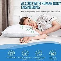 """Sampri Memory Foam Cervical Medical Pillow for Sleeping - 24"""" X 16"""", White Color (King)"""