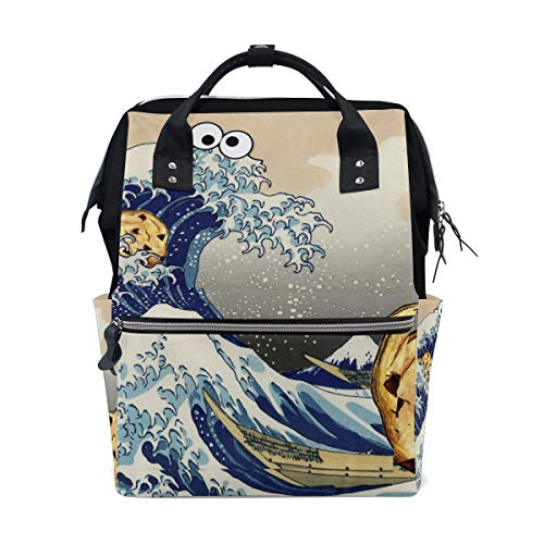 The Great Wave Funny Sac à dos à langer pour maman Grand sac à dos à langer Unisexe