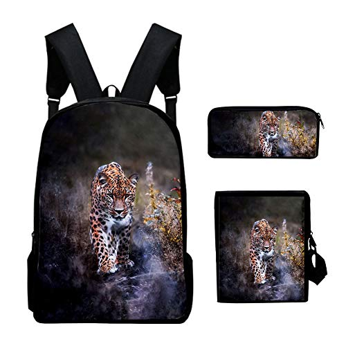 Ylight 3D Backpack Cool Leopard Print Backpack Sets for Teenager Boys Girls Children Kids Bagpack Primary Children Backbags,A