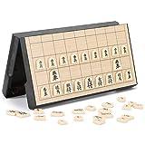 Juego de ajedrez plegable magnético plegable en caja Juego de ajedrez japonés portátil Shogi Ejercita el pensamiento lógico