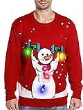TURNMEON Light Up Men's Christmas Sweater,3D Snowman...