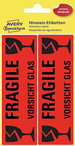 AVERY Zweckform 3050 Etiketten Warnhinweise (10 Stück, 119 x 38 mm, vorgedruckt, 5 Blatt) leuchtrot