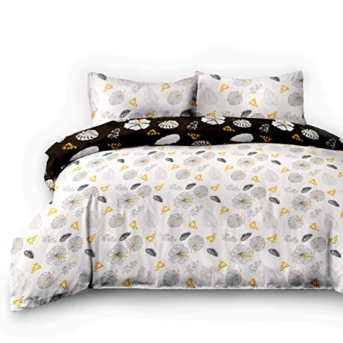 Parure de lit en Flanelle 100% Coton - Motif Fleurs - avec Housse de Couette à Fermeture éclair