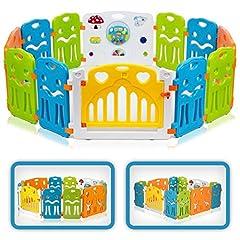 Baby Vivo rinnande galler rinnande stall baby barriärgaller Crawler galler skyddsgaller för barn av plast med dörr och leksaker – Färger XL utbyggbart