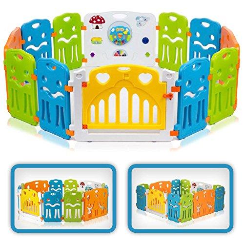 Baby Vivo Laufgitter Laufstall Baby Absperrgitter Krabbelgitter Schutzgitter für Kinder aus Kunststoff mit Tür und Spielzeug - Colors XL erweiterbar