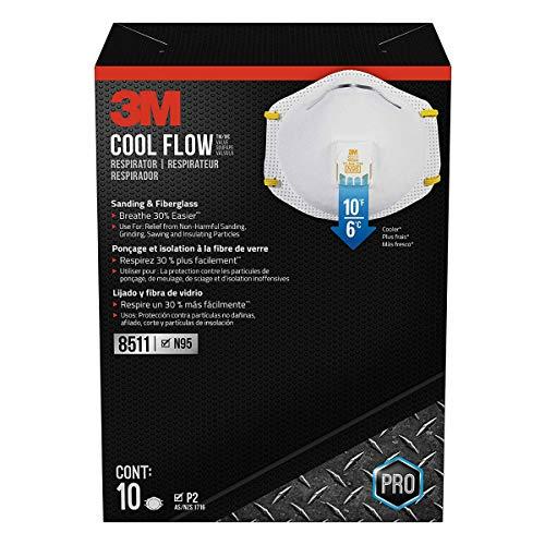 3M 8511 Pro N95 Particulate Respirator Cool Flow Exhalation Valve Mask, 5 Masks