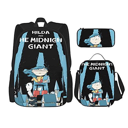Hil-Da Rucksack Set mit 3 Stück Büchertasche, Lunchtasche und Federtasche, doppelte Schultern, Tagesrucksack für Jungen Gril
