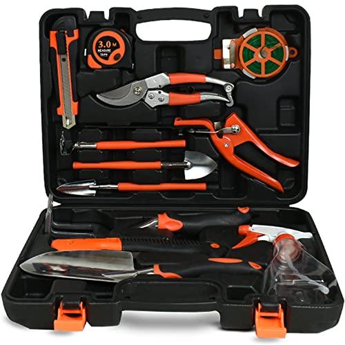 Scuddles Garden Tools Set - 8 Piece Heavy Duty Gardening Kit with Storage Organizer, Ergonomic Hand Digging Weeder Rake Shovel Trowel Sprayer Gloves Gift for Men Or Women (12 Piece, Black)