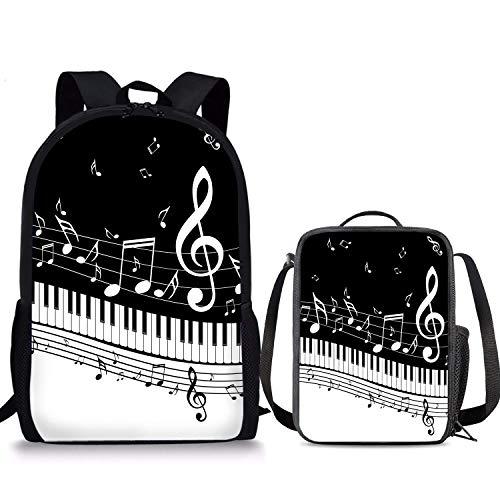 Ensemble sac à dos 2 pièces avec boîte à déjeuner 43,2 cm Motif notes de musique et piano Pour garçons et filles
