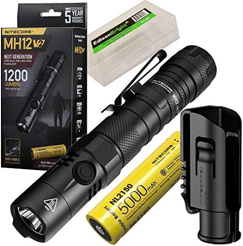 Nitecore MH12 V2 1200 Lumen USB C Rechargeable LED Tactical Flashlight with 5000mAh Battery product image