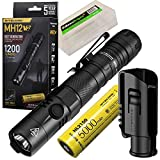 Nitecore MH12 V2 1200 Lumen USB-C Rechargeable LED Tactical Flashlight with 5000mAh Battery and EdisonBright battery carrying case
