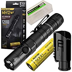 1200 lumen USB rechargeable tactical flashlight Powered by a 21700, 18650, or two CR123A batteries Includes 5000mAh rechargeable 21700 battery Dual switch design controls 4 brightness levels and 3 special modes Bundle includes EdisonBright battery ca...