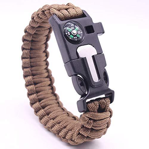 XHLLX Bracelets De Survie, Silex Imperméable Sifflet De Survie Allumer Un Feu Boussole Être Applicable Se Sauver Aventure Alpinisme à Pied,Brown