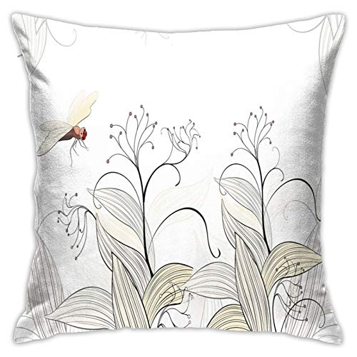 DHNKW Throw Pillow Case Cushion Cover,Curled Nature Branches Leaves Lake Coast Abstract Floral Shabby Chic Pattern ,18x18 Inches