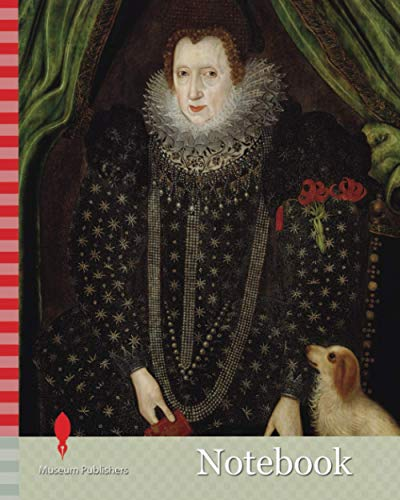 Notebook: Portrait of a Lady, 1600-1700 Artist unknown, British School, Oil Painting, Animal, Dog, Portrait, Fabric, Brocade, Female, Collar, Ruff, Textiles, Lace