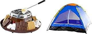 Nostalgia SMM200 Indoor Electric Stainless Steel S'mores Maker with 4 Compartment Trays for Graham Crackers, Chocolate,Brown & 2-Person Tent, Dome Tents for Camping with Carry Bag by Wakeman Outdoors