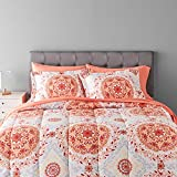 Amazon Basics 7-Piece Light-Weight Microfiber Bed-In-A-Bag Comforter Bedding Set - Full or Queen, Coral Medallion