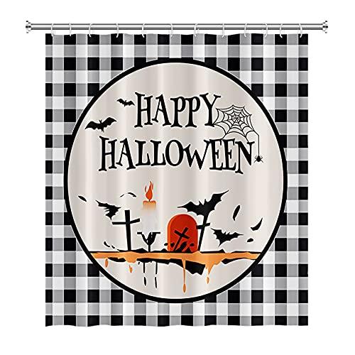Happy Halloween Duschvorhang Schloss Kürbis Hexe Dekor Büffel Karo Duschvorhang Urlaub Duschvorhang für Badezimmer Wasserdicht Stoff Duschvorhang Heimdekor mit 12 Haken 180,3 x 180,3 cm