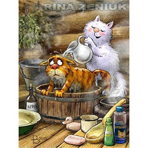 Diy 5D Diamant Schilderij Cartoon Kat Kruissteek Strass Mozaïek Patroon Huisdecoratie(11.8x15.8inch)