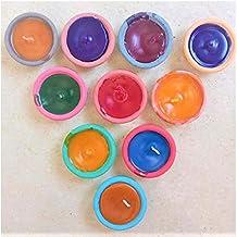 Diyas متعدد الألوان مع الشمع لديكورات الديوالي ديكور يدوي الصنع لشموع ديا ديا ديا التربية لديوالي (مجموعة من 10)
