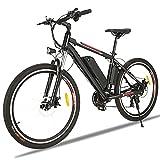 Vélos électriques pour Adultes, 26' VTT Électrique, Professionnel Shimano 21 Vitesses, Suspension Complète, Batterie au Lithium Amovible 36 V 12.5 Ah (Noir 01)