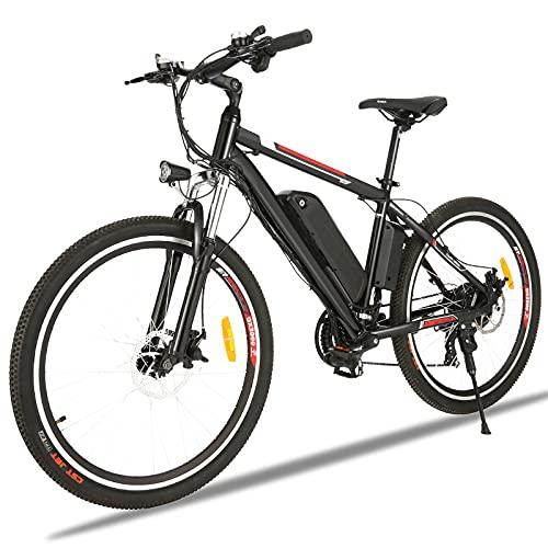 Vélos électriques pour Adultes, 26 VTT Électrique, Professionnel Shimano 21 Vitesses, Suspension Complète, Batterie au Lithium Amovible 36 V 12.5 Ah (Noir 01)