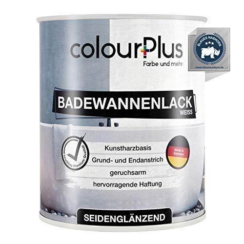 colourPlus® Badewannenlack (750ml, Weiß) 1K - seidenglänzender Badewannenlack weiß - Lack für Badewanne - Emaille Farbe - Badewannen Farbe - Made in Germany