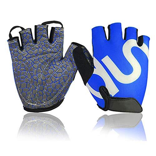 Guantes de entrenamiento Protección completa de palmeras, mejores guantes de ejercicio para gimnasio, ciclismo, levantamiento de pesas, transpirable, súper ligero para hombres y mujeres,Azul,L