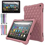 EpicGadget Case for Amazon Fire HD 8 / Fire HD 8 Plus (10th Generation, 2020 Released) - Soft Lightweight Diamond Grid Protective Silicone Cover Case + 1 Stylus and 1 Screen Protector (Plum)