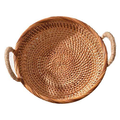 SODIAL Cestino per Pane Tondo nel Rattan Intrecciato nel Stile Vintage con Manico Vassoio Vassoio caffè o Tavolo da Pranzo Intrecciato Cestino di Snack
