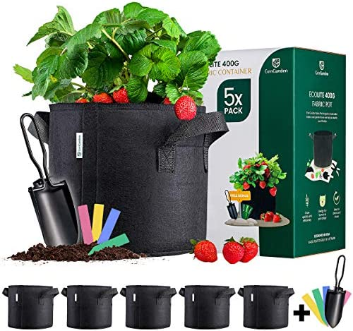 GenGarden 5 Pack 5 Gallon Grow Bags 400G Fabric Pots for Plants with 1x Garden Spade Heavy Duty product image