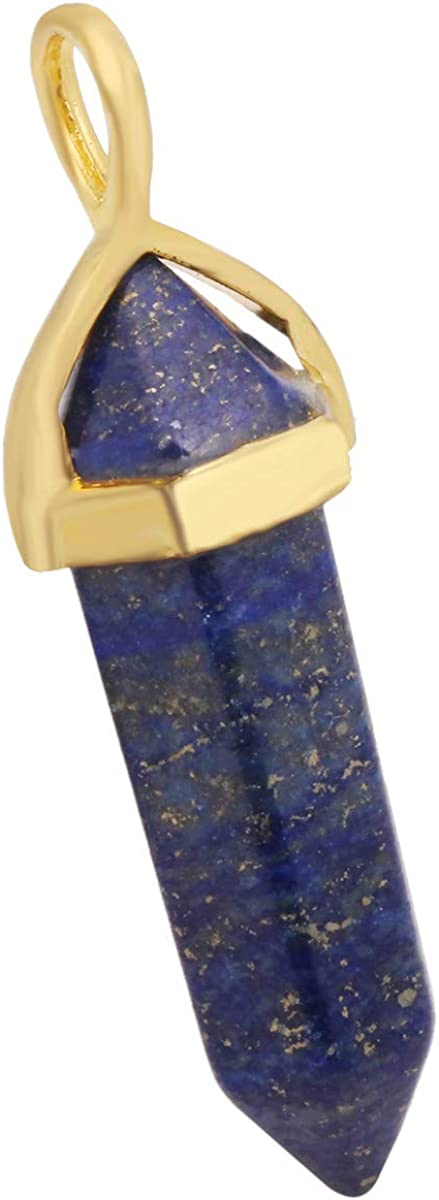 Nupuyai Crystal Point Healing Stone Pendant Necklace for Unisex, Reiki Chakra Gemstone Pendants with Chain 19