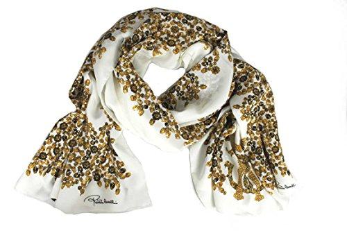Roberto Cavalli Damen Schal Scarf im Geschenkbox Made in Italy 2b690 creme-weiß