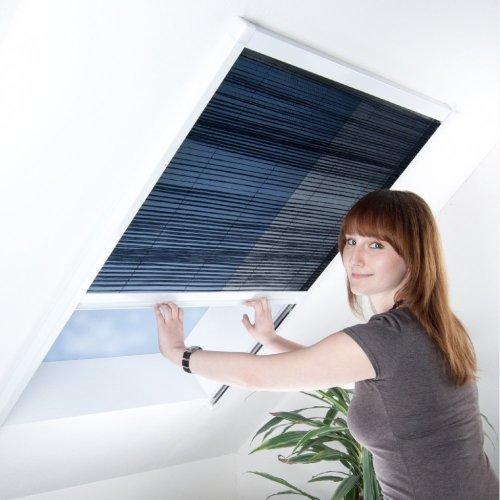Fliegengitter Plissee für Dachfenster bis max. 70 x 157 cm - Insektenschutz - Dachfensterplissee - 80 x 160 cm | brauner Rahmen