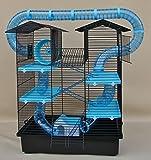 Super Hamsterkäfig, Nagerkäfig, Käfig CH2 Plus blau Gratis Futternapf