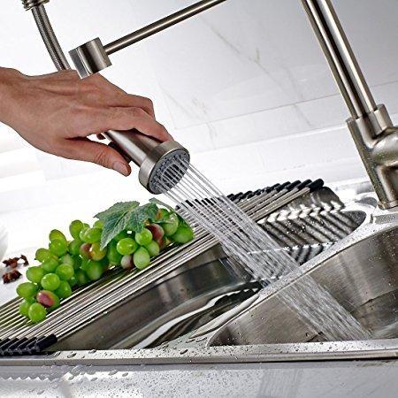 Timaco Wasserhahn Küche Einhandmischer für Küchen Spüle Gebürsteter Nickel Geschirrbrause Federbrause Mischbatterie Küchenarmatur Spültisch Armatur - 5