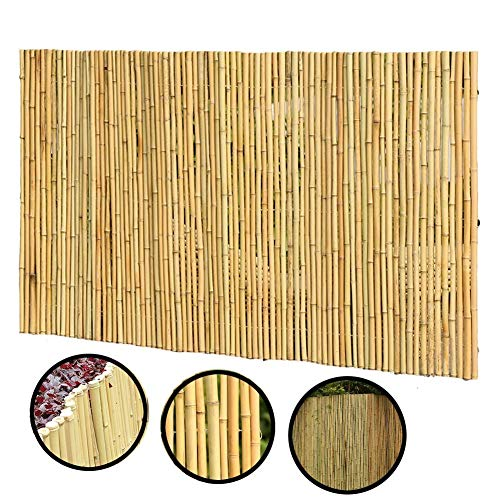 Home Equipment 2020 Update Natural Garden Rolled Bamboo Fence Outdoor Decorative Guardrail Wind Sun Protection Privacy Screen Border For Patio Balcony Backyard Panel 2 Colors 12 Sizes