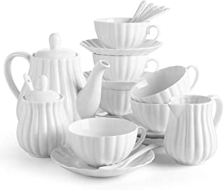 DOWAN 22 Pieces Porcelain Tea Set, Tea Gift Sets for Adults, Tea Cups and Saucers Sets of 6, Tea Pot, Teaspoon, Creamer and Sugar Set, Tea Service for Tea Party, White
