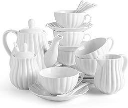 DOWAN 22 Pieces Porcelain Tea Set, Tea Gift Sets for Adults, Tea Cups and Saucers Sets of 6, Tea Pot, Teaspoon, Creamer and Sugar Set, Tea Service for Tea Party, White