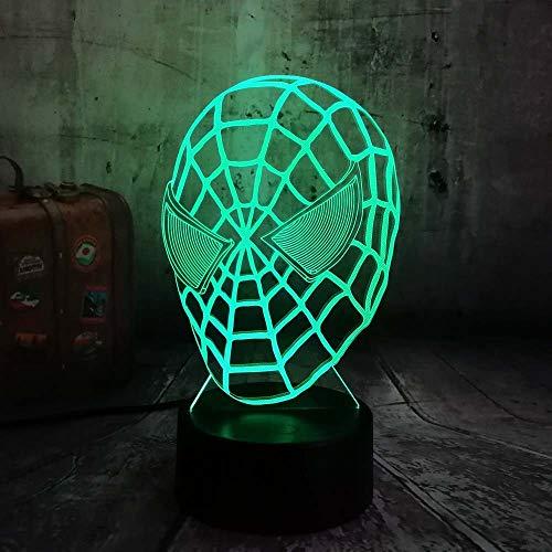 wangZJ Lámpara de ilusión 3d / 7 colores cambiantes Luz de noche/Decoración del hogar Lámpara/botón táctil/usb Charge/Spiderman