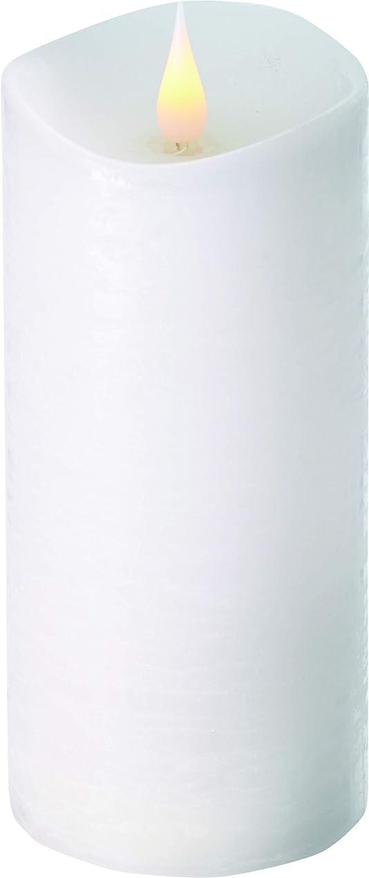 哀れな口水没エンキンドル 3D LEDキャンドル ラスティクピラー 直径7.6cm×高さ18.5cm ホワイト
