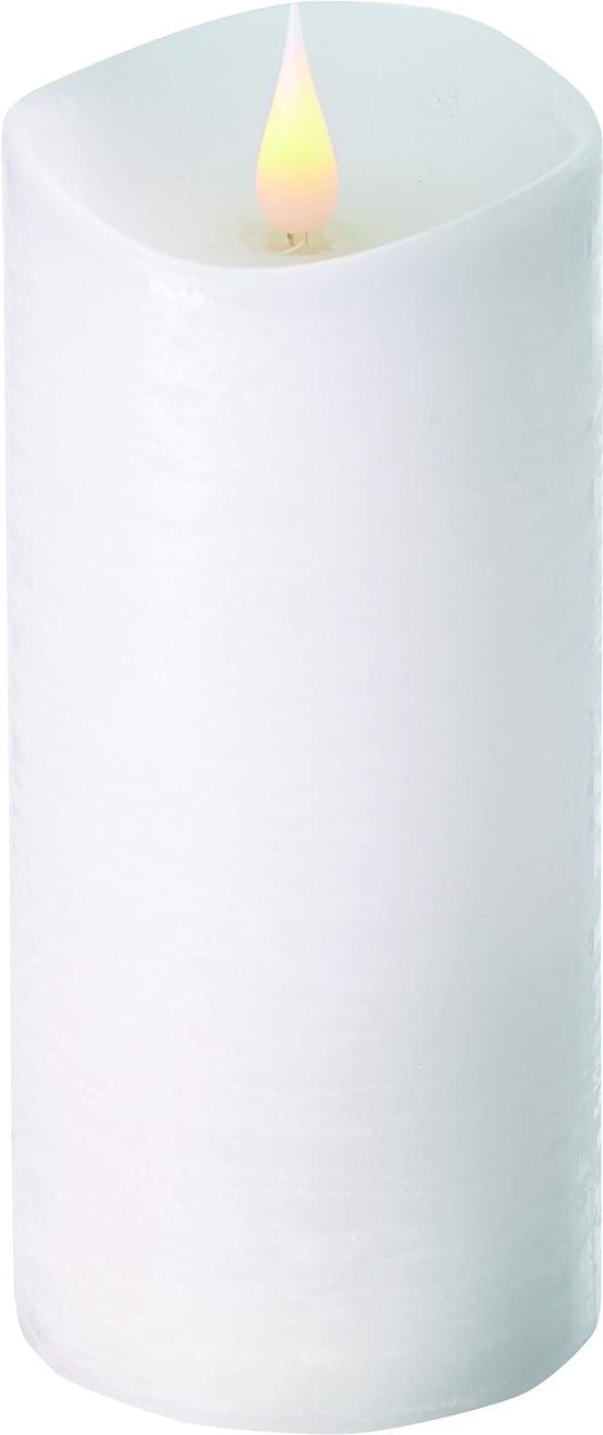 取り囲む優れました飢えエンキンドル 3D LEDキャンドル ラスティクピラー 直径7.6cm×高さ18.5cm ホワイト