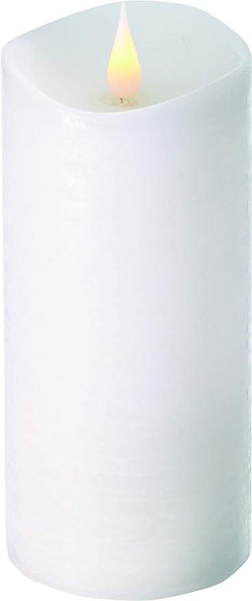 刺繍カテゴリータイプライターエンキンドル 3D LEDキャンドル ラスティクピラー 直径7.6cm×高さ18.5cm ホワイト
