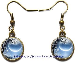 Winter Solstice Earrings, New Moon Earrings, New Moon Stud Earrings, Solstice Jewelry, Solstice jewellry, Wiccan-JP153