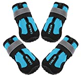"""CASLON Dog Boots Waterproof Shoes for Dogs with Reflective Strips Rugged, Anti-Slip Sole Breathable Dog Booties 4PCS (Size 7: 3.1""""x2.7""""(LW) for 63-75 lbs, Black Blue)"""