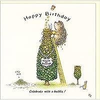 グリーティングカード 誕生日/バースデー ピーター・クロスシリーズ 「ワインツリーでお祝いをするハリネズミ」 動物 メッセージカード ギフト イギリス製