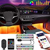 itayak Interior LED Car Lights, 4pcs 48 RGB LED Car Accessories Floor Light, APP Remote Wire Control, Waterproof Under Dash Ambient Lighting Kit for iPhone Android Phone, Music Sound Sync, USB 5V