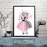 JHGJHK Falda Rosa Dama Cartel de Arte nórdico Imagen de impresión Sala de Estar Dormitorio de niña decoración del hogar Pintura al óleo (Imagen 3)