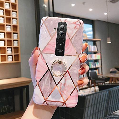 Uposao Coque pour Huawei Mate 20 Lite Coque Girly Case 3D Motif Géométrique Marbre Design avec Support Téléphone Diamant Strass Coque Silicone Gel TPU Flex Soft Skin Etui pour Huawei Mate 20 Lite,#4